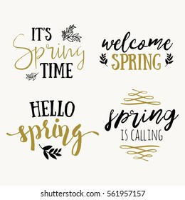 It's spring time lettering greeting cards set. Special spring sale typography poster in gold black and white colors. Vector illustration