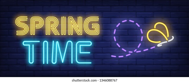 Spring time neon text with butterfly and its flight trajectory. Nature and beauty design. Night bright neon sign, colorful billboard, light banner. Vector illustration in neon style.