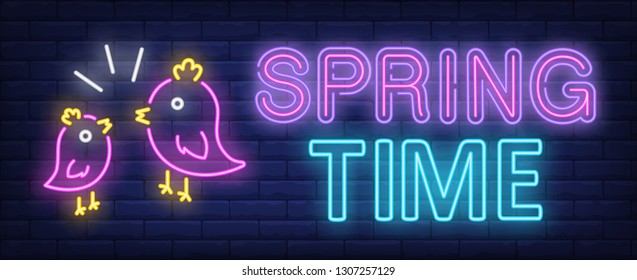 Spring time neon text with twitting birds. Spring season design. Night bright neon sign, colorful billboard, light banner. Vector illustration in neon style.