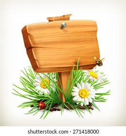 Spring, time for a picnic, wooden sign in a grass, flowers of chamomile, a ladybug and a bee in the garden, vector icon, an universal frame showing the process of springtime
