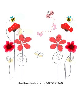 Spring time red poppy flowers, bee, butterfly. Floral vector background