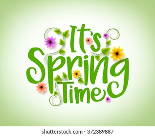Spring Time Vector Design with 3D Realistic Fresh Plants and Flowers Elements for Spring Season. Vector Illustration
