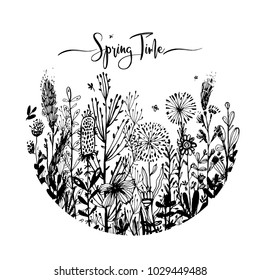 Spring time wording with hand drawn flowers in a circle, Set of black doodle elements, grass, leaves, flowers. Vector illustration, design element for congratulation cards, print, banners and others