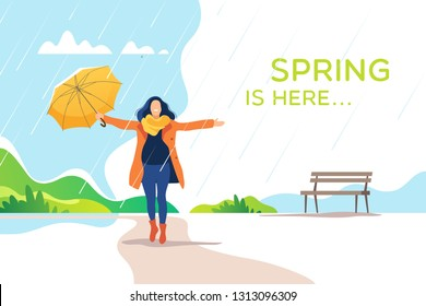 Spring time. Young happy woman with umbrella in a park. Healthy lifestyle and recreation leisure activity. Vector illustration.
