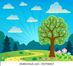 Spring topic scenery 2 - eps10 vector illustration.