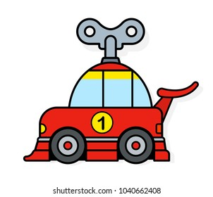 Spring toy racing car with wind up key for children or to depict eco friendly transportation - vector illustration