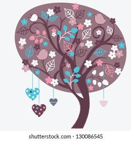 Spring tree with birds. Vector illustration.