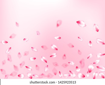 Spring tree flowers parts, airy flying petals on rose color background. Bloom 3d particles. Flower blossom particles, petals rain shower. Pink sakura blossom falling parts romantic vector.