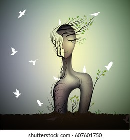 spring tree looks like woman with  white bird, sleeping dream  sculpture with white pigeons,surreal tree`s dream, vector