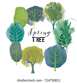 Spring tree set. Vector tree collection.