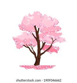 Spring tree vector nature illustration, blossom Japanese sakura, wooden trunk, pink crown. Isolated summer season park cartoon floral icon. Bloom sakura, cherry tree garden environment logo landscape