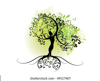 spring tree with women silhouette
