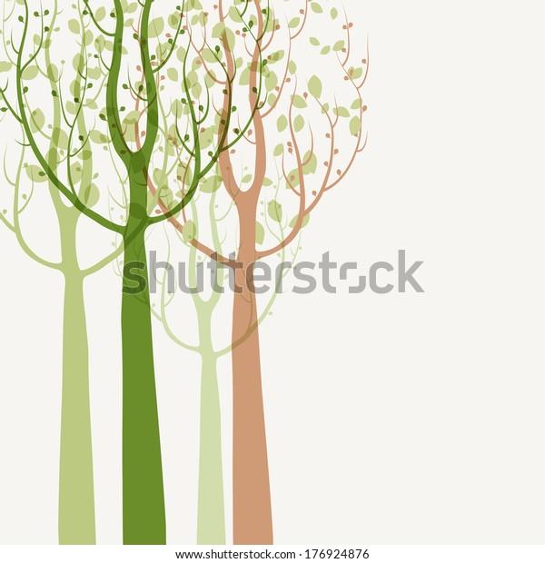 Spring Trees Background Seasonal Pattern Vector Stock Vector Royalty Free 176924876