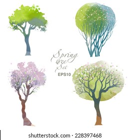 Spring trees. Watercolor vector set of trees