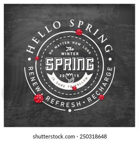 Spring Typography Background on Chalkboard