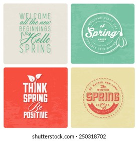Spring Typography Background Set in Vintage Style