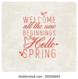 Spring Typography Background in Vintage Style