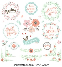 Spring typography design set. Vector elements with spring quotes, flowers, wreaths, frames, hearts, bird and ornate motifs. Good for greeting cards, scrapbook and logos.