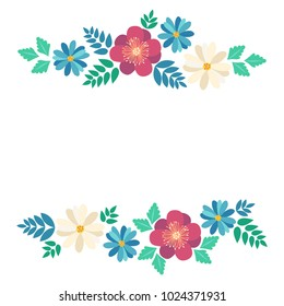 Spring typography poster with cute colorful flowers in flat style, isolated. Vector illustration for 8 March Woman's Day, Mother's Day, greeting cards, invitations. Flower frame with crocus, chamomile