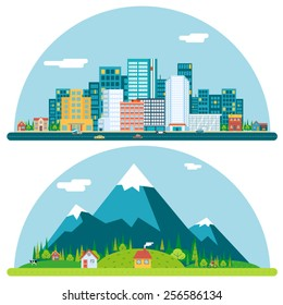Spring Urban and Countryside Landscape City Village Real Estate Summer Day Background Flat Design Concept Icon Template Vector Illustration