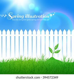 Spring vector background with growing sprout,  garden white fence and blue sky with sunbeams.