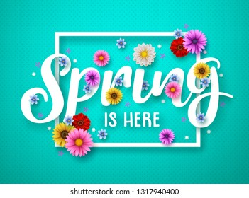 Spring vector banner design. Spring text with colorful chrysanthemum and daisy flowers in white frame for spring season. Vector illustration.