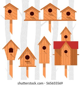 Spring vector card with wooden birdhouses. Trees, tree buds, thaw, birds. Web graphics, banners, advertisements, brochures, business templates. Isolated on a white background