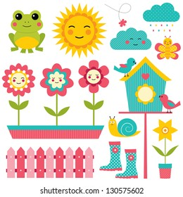 Spring vector design elements set