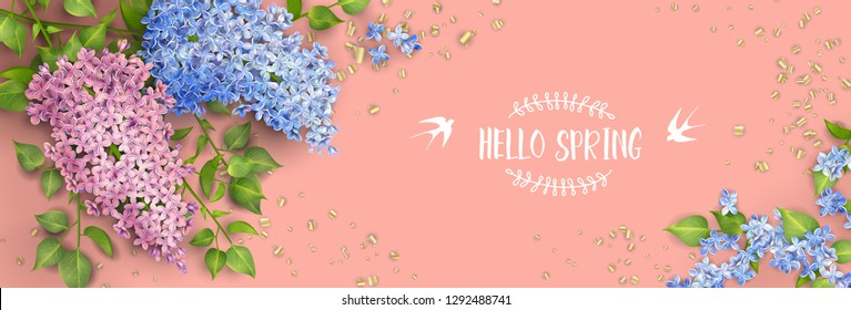 Spring vector floral background. Branch of a blossoming Lilac