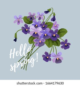 Spring vector illustration with flowers, bouquet of lilac cute violet on a blue background.