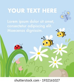 Spring vector illustration template. Summer meadow nature background with bees, butterfly, ladybug sitting on plant, chamomile flowers, green field grass. Greeting card with copy space.