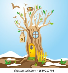 Spring vector illustration. Tree house for animals and birds. Snow melting. Spring is coming