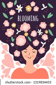 Spring vector illustration with woman with flowers. Concept of happy living and positive thinking. Blooming phrase.