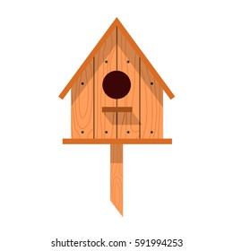 Spring vector illustration with wooden birdhouses. Trees, tree buds, thaw, birds. Web graphics, banners, advertisements, brochures, business templates. Isolated on a white background