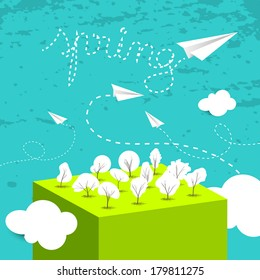 Spring vector postcard, seasonal vector abstract landscape with paper planes.