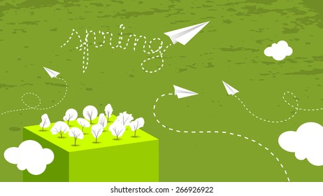 Spring vector postcard, seasonal vector abstract landscape with trees, paper planes.