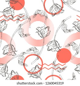 Spring vector seamless pattern design with hand drawn sketch tulip illustration and trending Living Coral color
