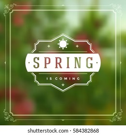 Spring Vector Typographic Greeting Card or Poster Design. Beautiful Blurred Lights with Bokeh. Spring Badge vector illustration.