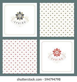 Spring Vector Typographic Posters or Greeting Cards Design Set. Retro Style and Pattern Background. Spring Badge vector illustration.