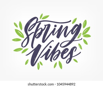 Spring Vibes, gorgeous lettering written with elegant calligraphic font or script and decorated with green leaves. Springtime inscription isolated on white background. Hand drawn vector illustration.
