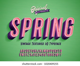 """Spring"" Vintage 3d Premium Rich Textured Alphabet. Super Detailed Retro Typeace with Good Spring Vibes. Vector Illustration."