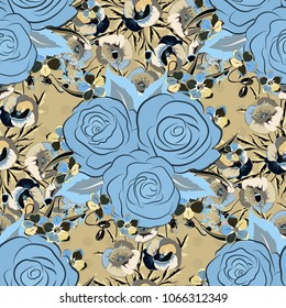 Spring vintage floral background. Beautiful vector texture. Seamless pattern with cute rose flowers and leaves in beige, gray and blue colors.