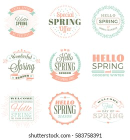 Spring vintage typographic badges. Vector illustration. Hello Spring. Greeting card design