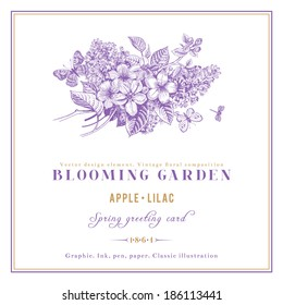 Spring Vintage vector card with blooming branches of apple and lilac on a white background with golden frame.