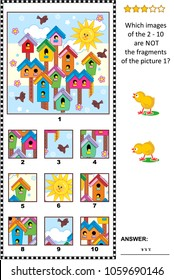 Spring visual logic puzzle with birdhouses, birds and nestlings early in the morning: What of the 2 - 10 are not the fragments of the picture 1? Answer included.