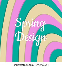 Spring wavy colorful abstract background. Clean minimalistic design. Pattern in 3 vernal colors. Flat vector illustration.