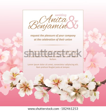 Spring Wedding Invitation Template Vector Stock Royalty Free