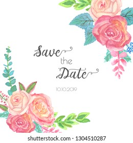 Spring wedding save the date invite. Watercolor vector illustration