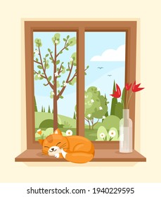 Spring window. Vector illustration of wood window view of garden with sleeping cat and vase with flowers on the sill. Spring landscape with tree, bush, field, hills. Spring mood. Cozy sunny morning