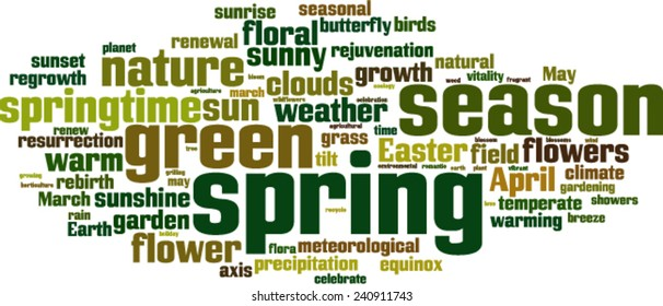 Spring word cloud concept. Vector illustration